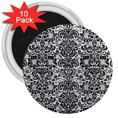 Damask2 Black Marble & White Leather 3  Magnets (10 Pack)