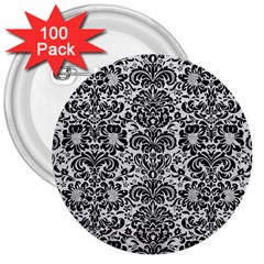 Damask2 Black Marble & White Leather 3  Buttons (100 Pack)