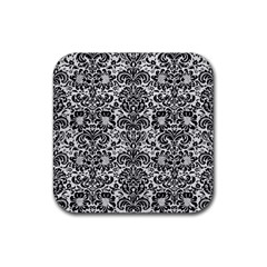 Damask2 Black Marble & White Leather Rubber Square Coaster (4 Pack)