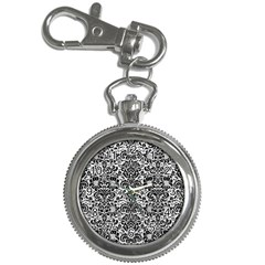 Damask2 Black Marble & White Leather Key Chain Watches