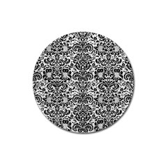 Damask2 Black Marble & White Leather Magnet 3  (round)