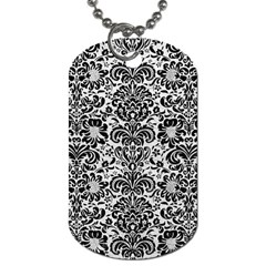 Damask2 Black Marble & White Leather Dog Tag (two Sides)