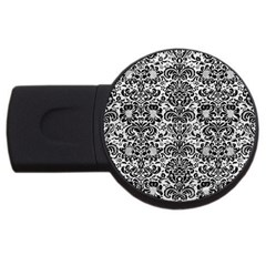 Damask2 Black Marble & White Leather Usb Flash Drive Round (2 Gb)
