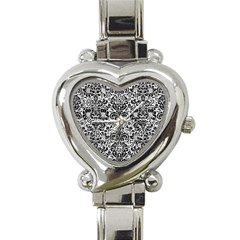 Damask2 Black Marble & White Leather Heart Italian Charm Watch