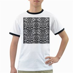 Damask2 Black Marble & White Leather Ringer T Shirts