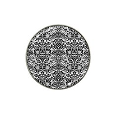Damask2 Black Marble & White Leather Hat Clip Ball Marker