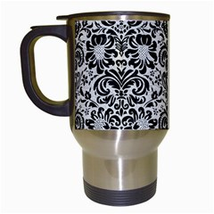 Damask2 Black Marble & White Leather Travel Mugs (white)
