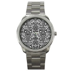 Damask2 Black Marble & White Leather Sport Metal Watch