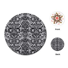 Damask2 Black Marble & White Leather Playing Cards (round)