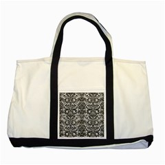 Damask2 Black Marble & White Leather Two Tone Tote Bag