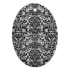 Damask2 Black Marble & White Leather Oval Ornament (two Sides)