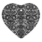 DAMASK2 BLACK MARBLE & WHITE LEATHER Heart Ornament (Two Sides) Front