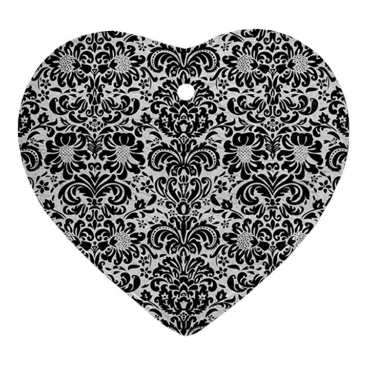 DAMASK2 BLACK MARBLE & WHITE LEATHER Heart Ornament (Two Sides)