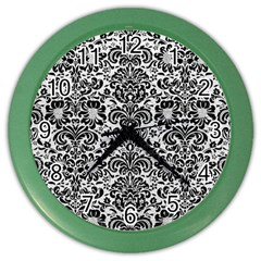 Damask2 Black Marble & White Leather Color Wall Clocks