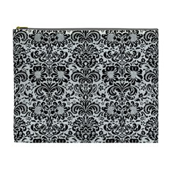 Damask2 Black Marble & White Leather Cosmetic Bag (xl)