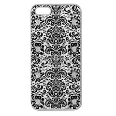 Damask2 Black Marble & White Leather Apple Seamless Iphone 5 Case (clear)