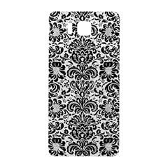 Damask2 Black Marble & White Leather Samsung Galaxy Alpha Hardshell Back Case