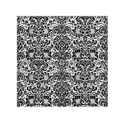 Damask2 Black Marble & White Leather Small Satin Scarf (square)