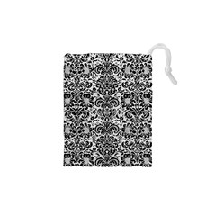 Damask2 Black Marble & White Leather Drawstring Pouches (xs)
