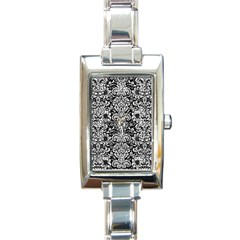 Damask2 Black Marble & White Leather (r) Rectangle Italian Charm Watch