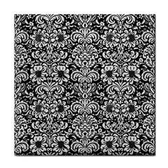Damask2 Black Marble & White Leather (r) Tile Coasters