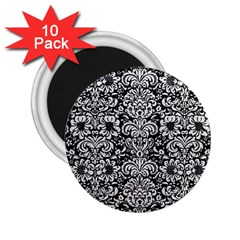 Damask2 Black Marble & White Leather (r) 2 25  Magnets (10 Pack)
