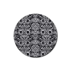 Damask2 Black Marble & White Leather (r) Rubber Coaster (round)