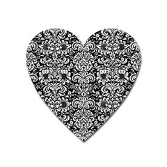 Damask2 Black Marble & White Leather (r) Heart Magnet