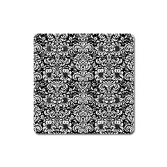 Damask2 Black Marble & White Leather (r) Square Magnet