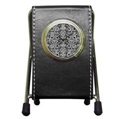 Damask2 Black Marble & White Leather (r) Pen Holder Desk Clocks