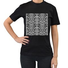 Damask2 Black Marble & White Leather (r) Women s T Shirt (black) (two Sided)