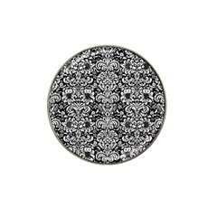 Damask2 Black Marble & White Leather (r) Hat Clip Ball Marker (4 Pack)