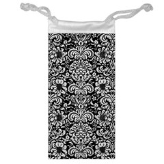 Damask2 Black Marble & White Leather (r) Jewelry Bag