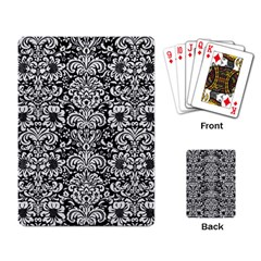 Damask2 Black Marble & White Leather (r) Playing Card
