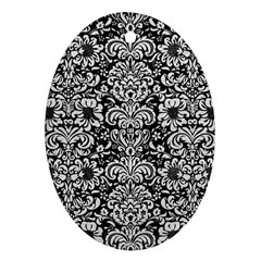 Damask2 Black Marble & White Leather (r) Oval Ornament (two Sides)