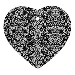 Damask2 Black Marble & White Leather (r) Heart Ornament (two Sides)