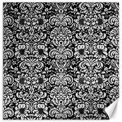 Damask2 Black Marble & White Leather (r) Canvas 16  X 16