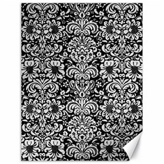 Damask2 Black Marble & White Leather (r) Canvas 18  X 24