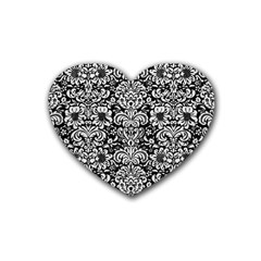 Damask2 Black Marble & White Leather (r) Rubber Coaster (heart)