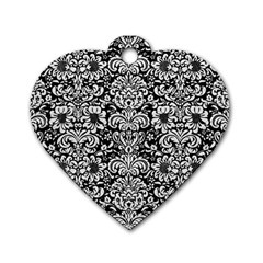 Damask2 Black Marble & White Leather (r) Dog Tag Heart (two Sides)