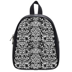 Damask2 Black Marble & White Leather (r) School Bag (small)