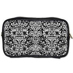 Damask2 Black Marble & White Leather (r) Toiletries Bags 2 Side
