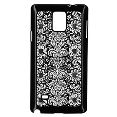 Damask2 Black Marble & White Leather (r) Samsung Galaxy Note 4 Case (black)