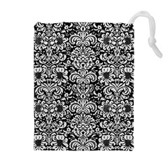 Damask2 Black Marble & White Leather (r) Drawstring Pouches (extra Large)