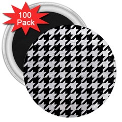 Houndstooth1 Black Marble & White Leather 3  Magnets (100 Pack)