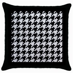 Houndstooth1 Black Marble & White Leather Throw Pillow Case (black)