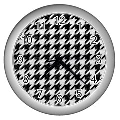 Houndstooth1 Black Marble & White Leather Wall Clocks (silver)