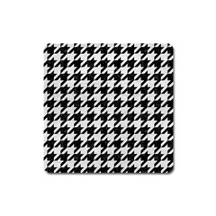 Houndstooth1 Black Marble & White Leather Square Magnet