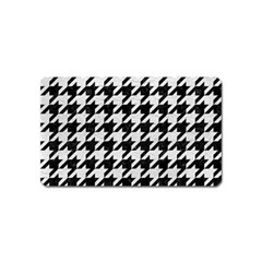 Houndstooth1 Black Marble & White Leather Magnet (name Card)