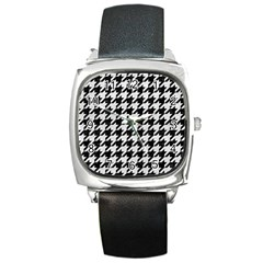 Houndstooth1 Black Marble & White Leather Square Metal Watch